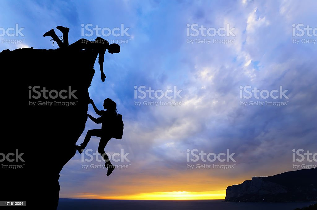 teamwork of two people man and girl travelers stock photo