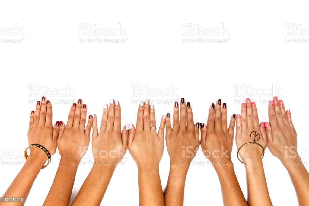 Teamwork of women hands in a row royalty-free stock photo
