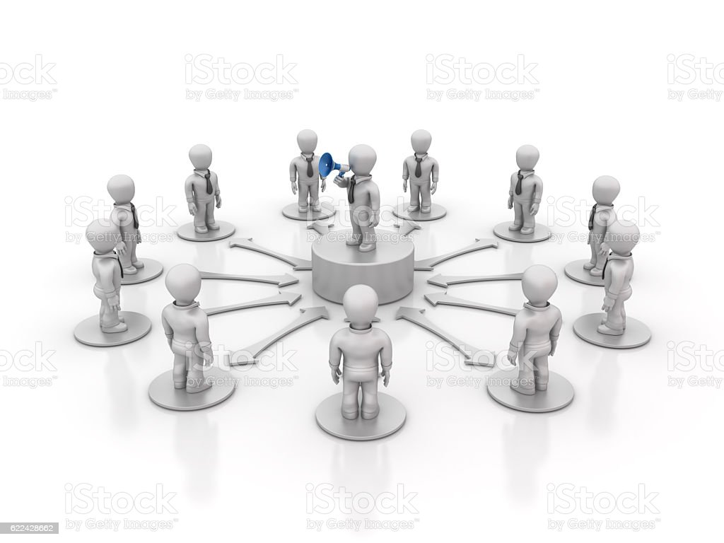 Teamwork People and Leadership with Megaphone - 3D Rendering stock photo