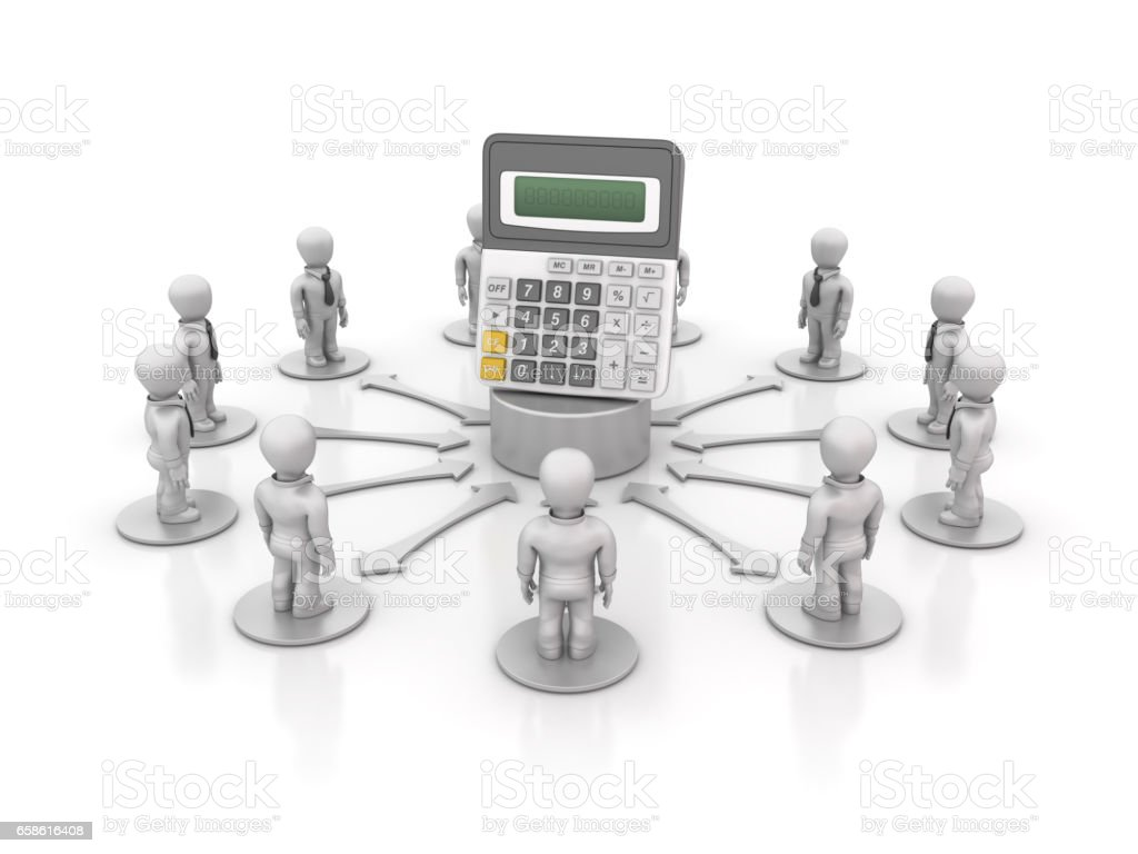 Teamwork People with Calculator - 3D Rendering stock photo