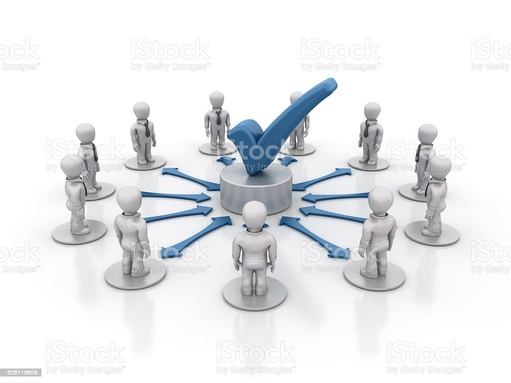 Teamwork People with Check Mark - 3D Rendering stock photo