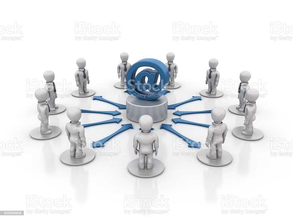 Teamwork People with Email Symbol - 3D Rendering stock photo