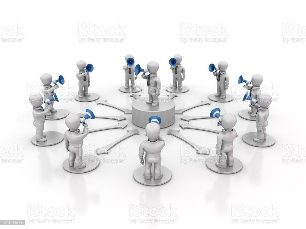 Teamwork People with Megaphones - 3D Rendering stock photo