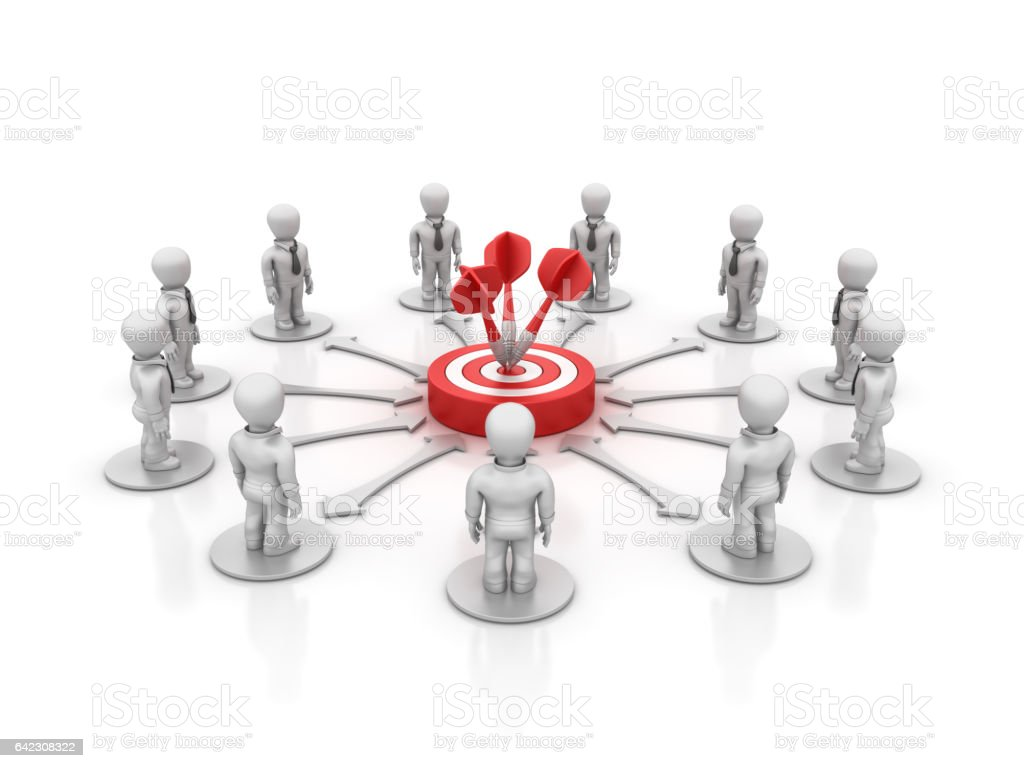 Teamwork People with Target and Darts - 3D Rendering stock photo