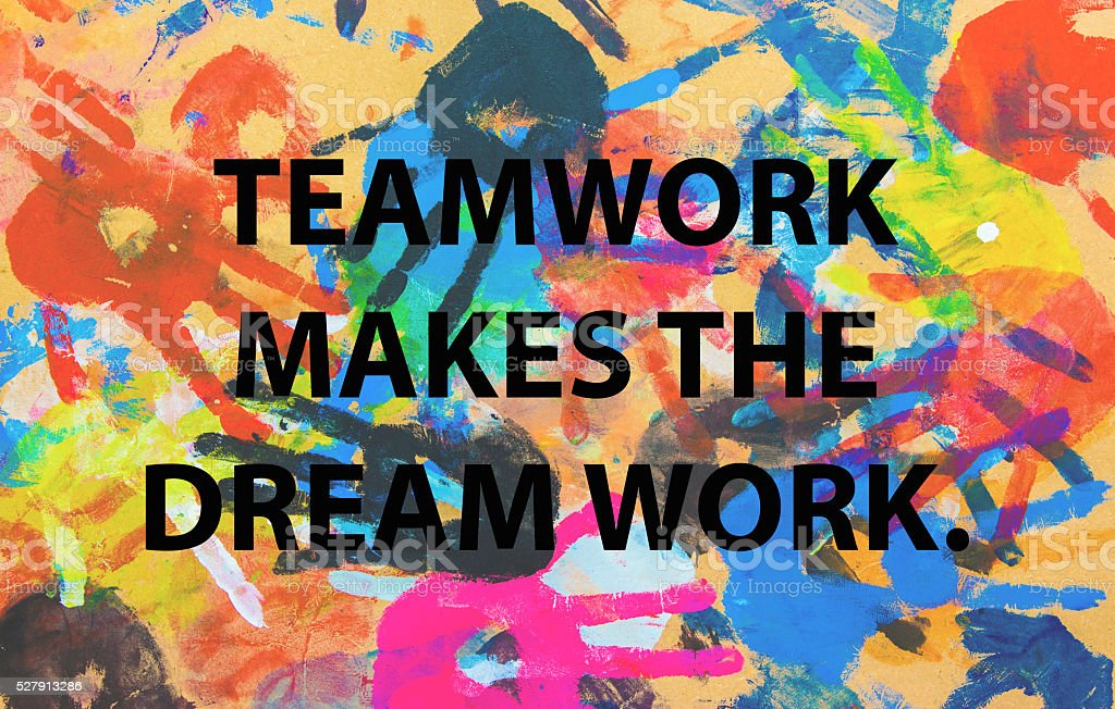 Teamwork quote concept on colorful hand background stock photo