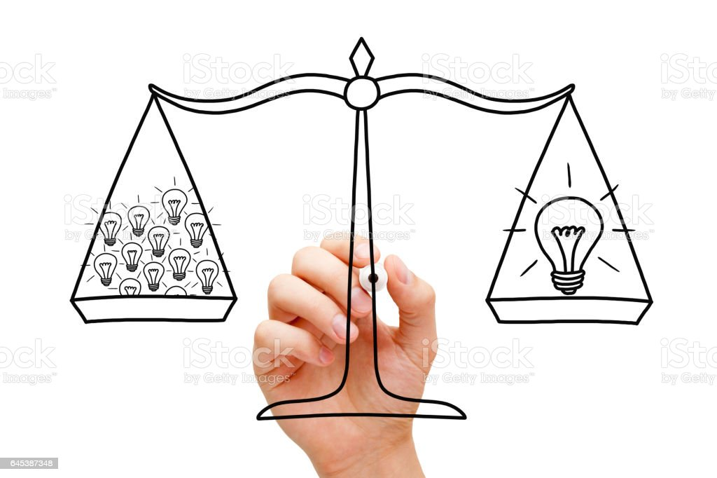 Teamwork Scale And Light Bulbs Concept stock photo