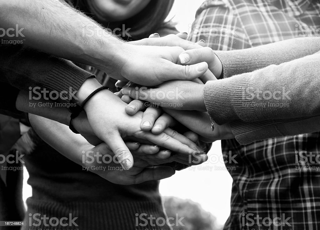 Teamwork Stack of Hands royalty-free stock photo