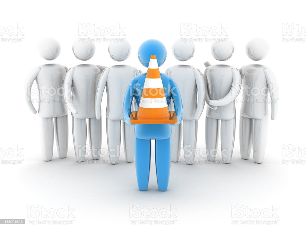 Teamwork - traffic cone royalty-free stock photo