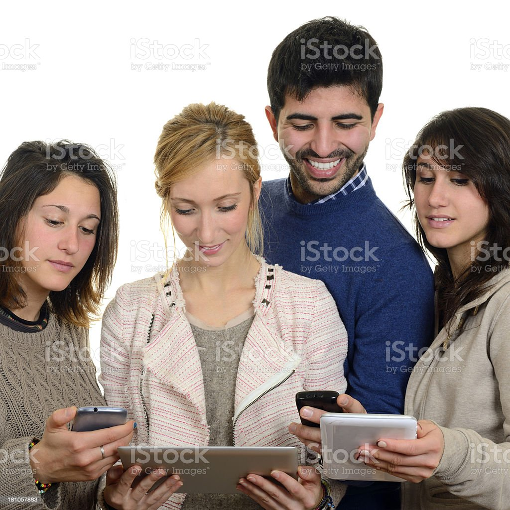 Teamwork W Digital Tablet and Smart Phone royalty-free stock photo