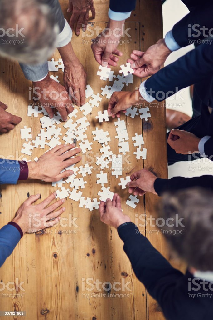 Teamwork will provide all the solutions stock photo