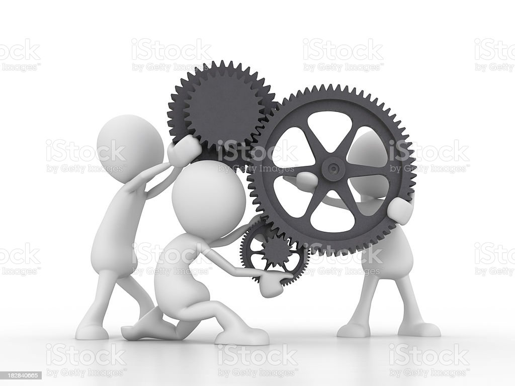 Teamwork  with gears stock photo