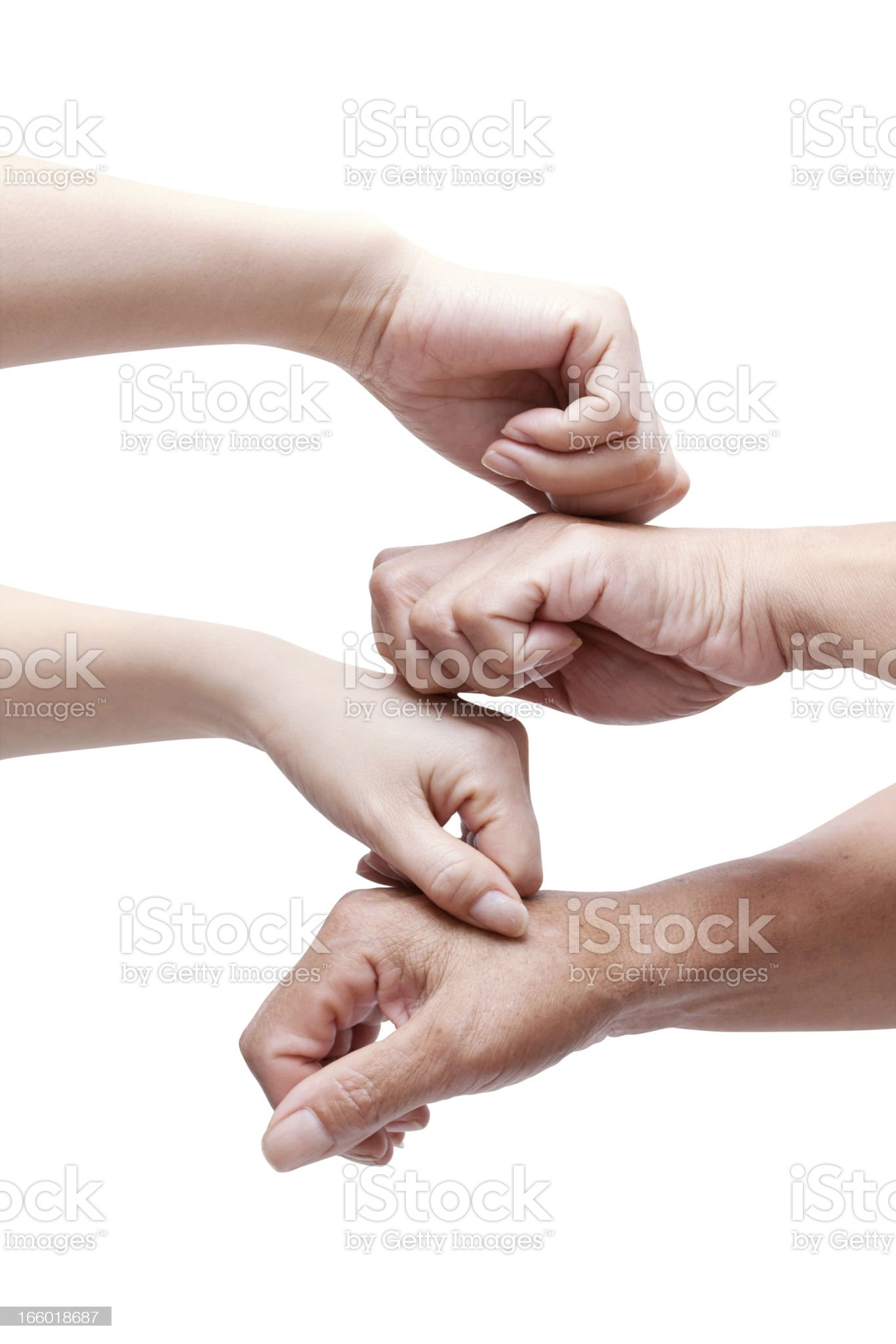 Teamwork (Clipping Path!) with hands  isolated on white background royalty-free stock photo