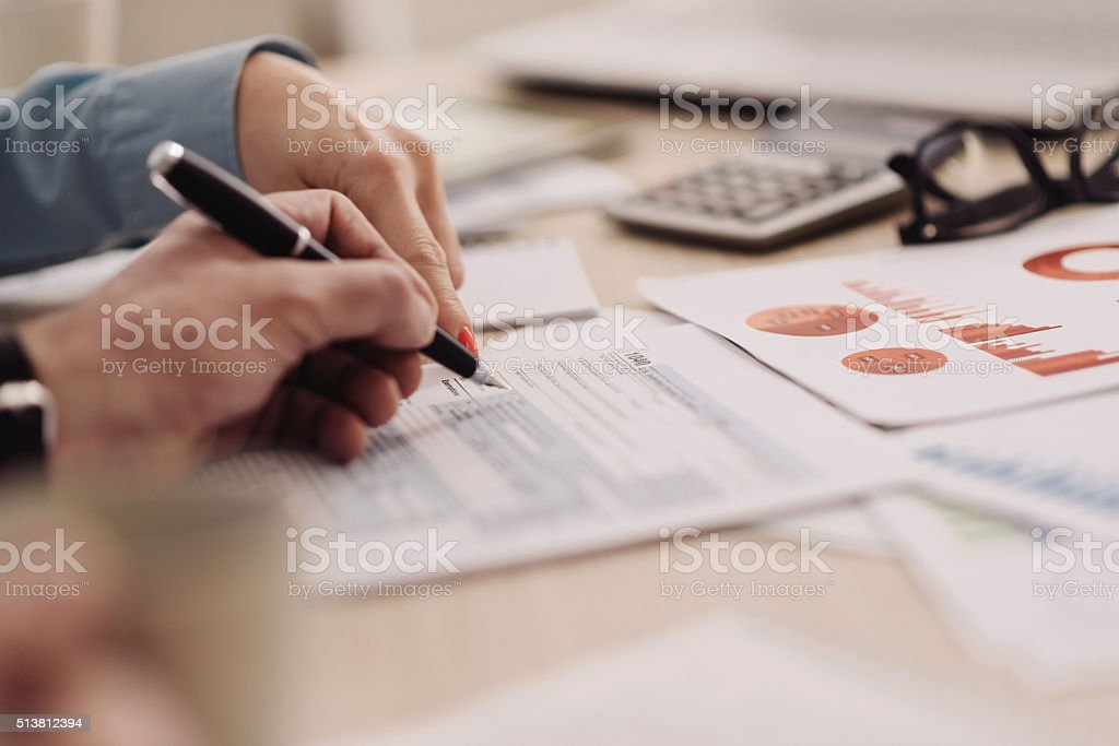 Teamwork with two business people in office with business analysis stock photo