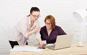 Teamwork. Women discuss project in office