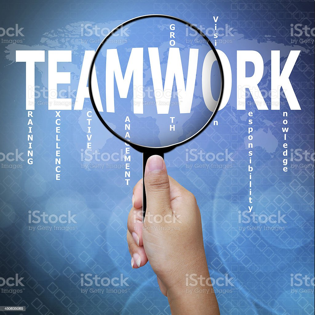 Teamwork, word in Magnifying glass ,Business concept royalty-free stock photo