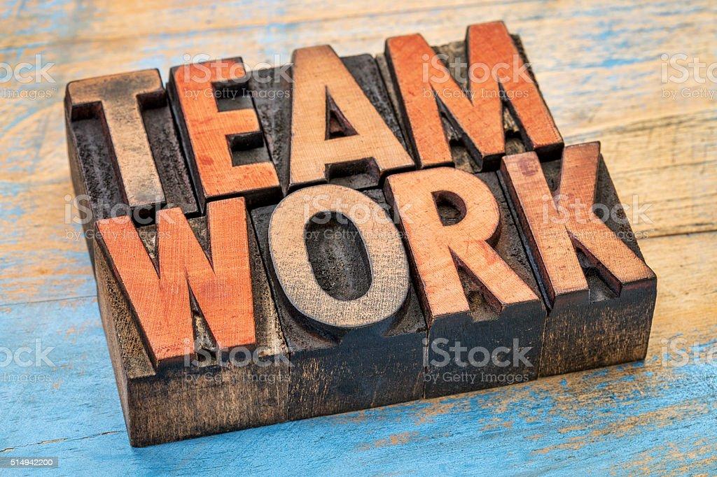 teamwork word in wood type stock photo