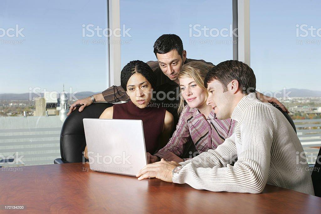 Teamwork working on laptop. royalty-free stock photo