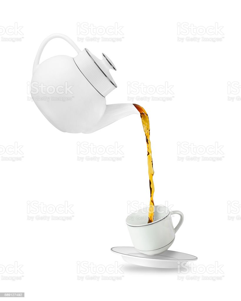 Teapot and cup stock photo