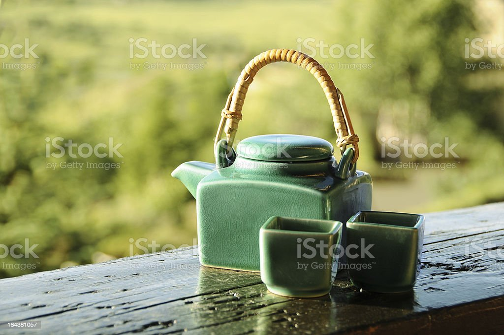 Teapot and cups royalty-free stock photo