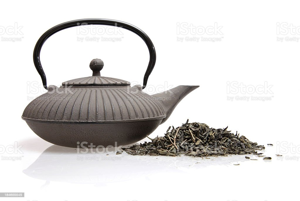 Teapot and tea stock photo