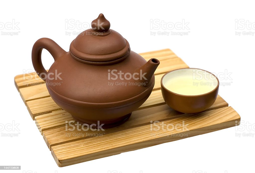 Teapot and teacup stock photo