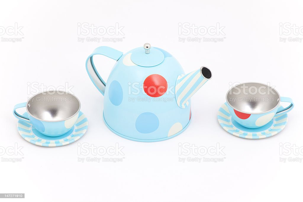 Teapot and teacups royalty-free stock photo