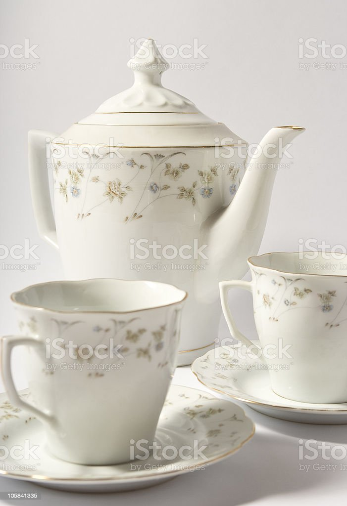 teapot and two cup royalty-free stock photo
