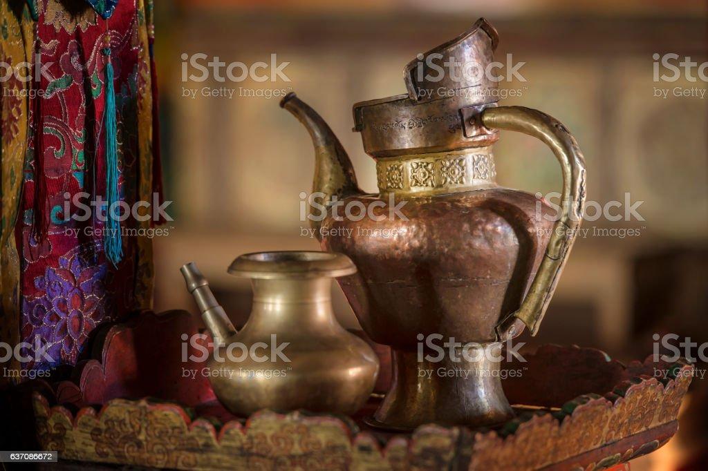 Teapot of a Tibetan monk in monastery in Ladakh, India stock photo