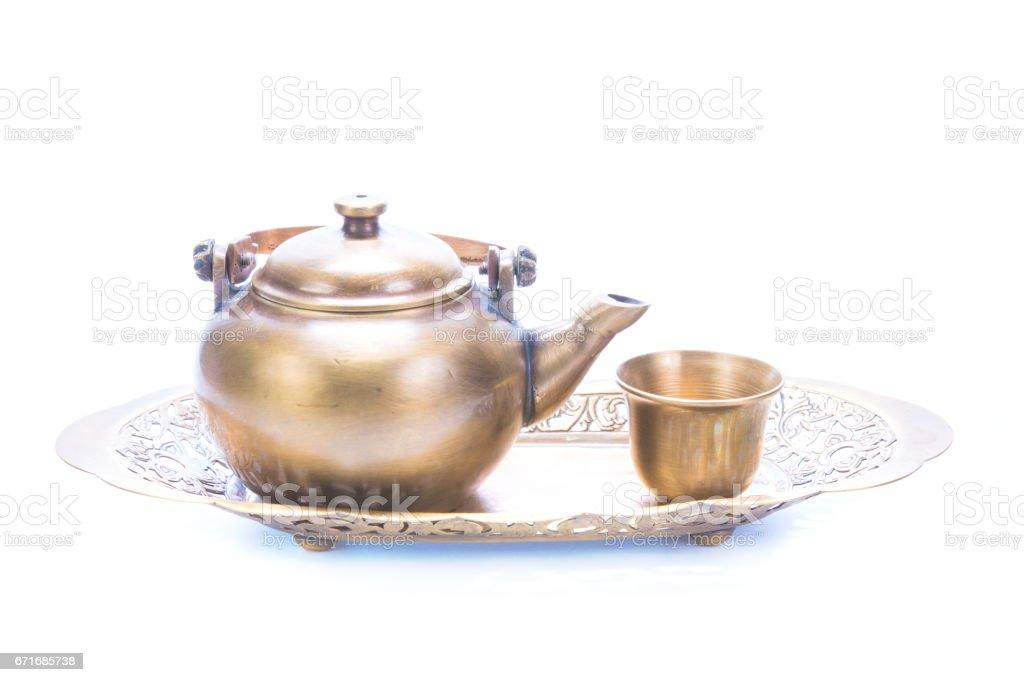 teapot set isolated on white background stock photo