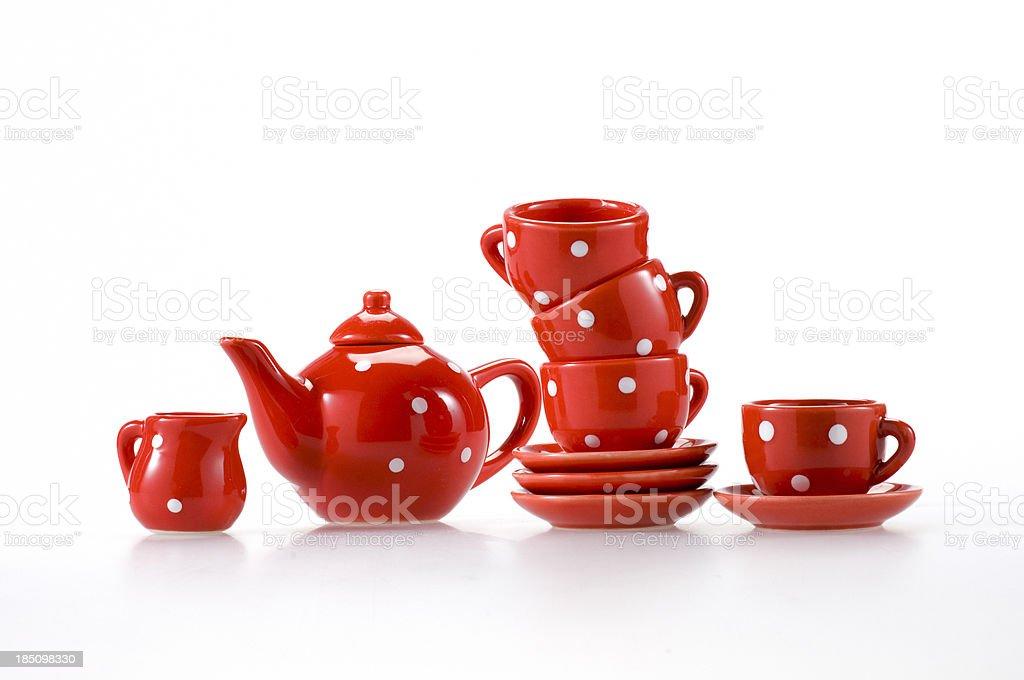 teapot teacups and saucers stock photo