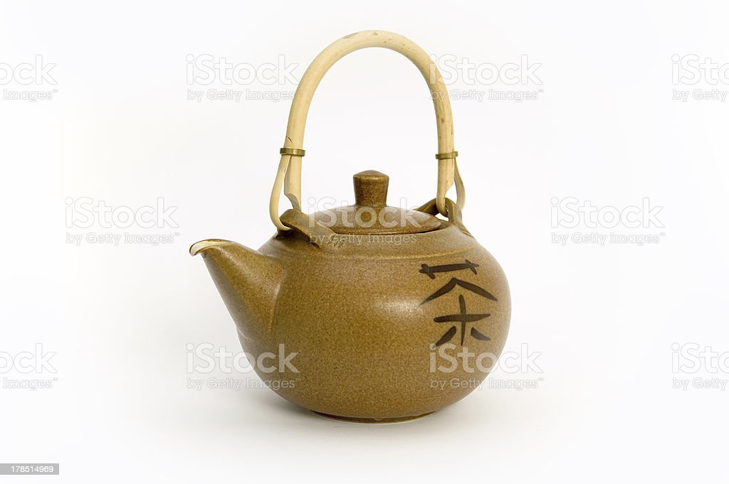 Teapot with chinese sign of tea ( isolated) royalty-free stock photo