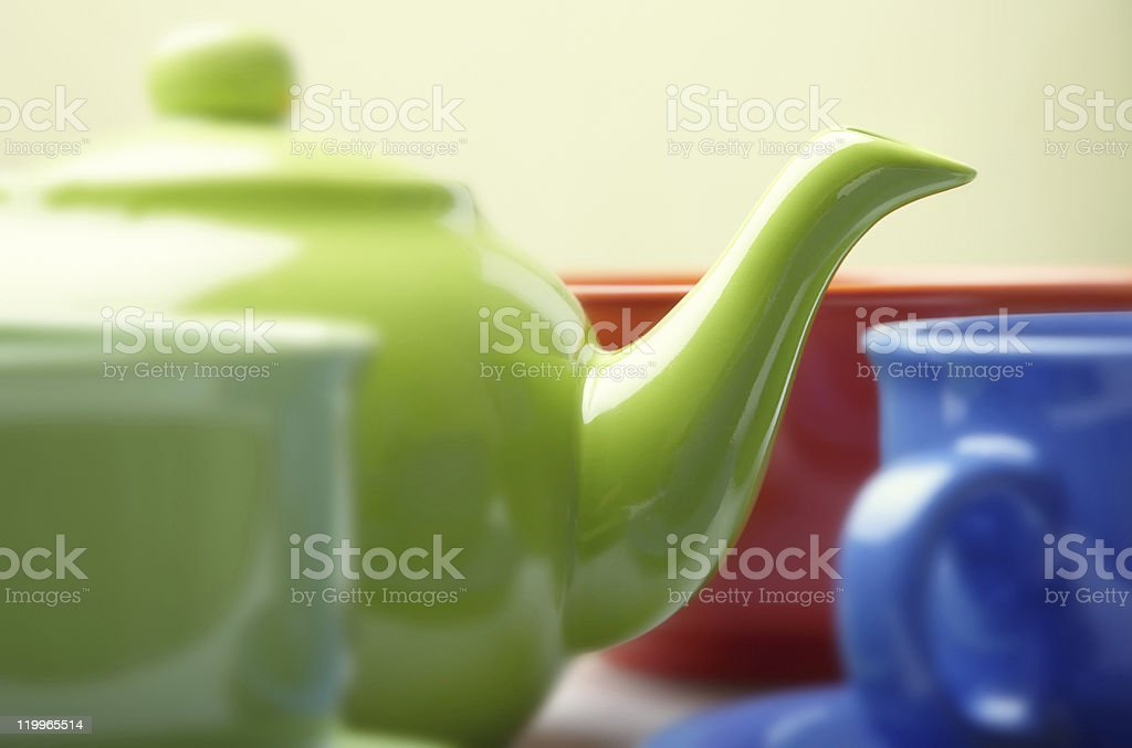 Teapot with cups royalty-free stock photo