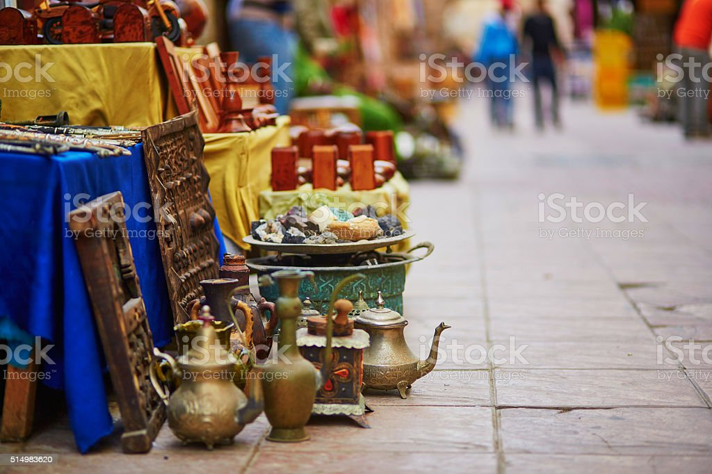 Teapots on Moroccan market in Essaouira, Morocco stock photo