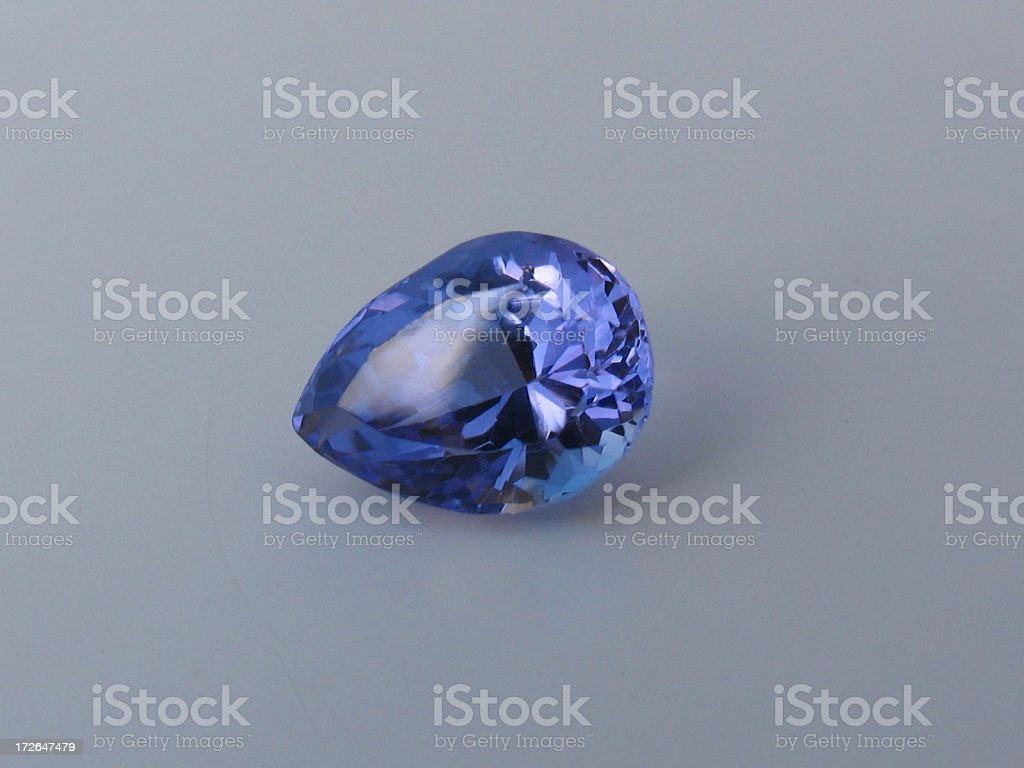 Tear drop tanzanite royalty-free stock photo