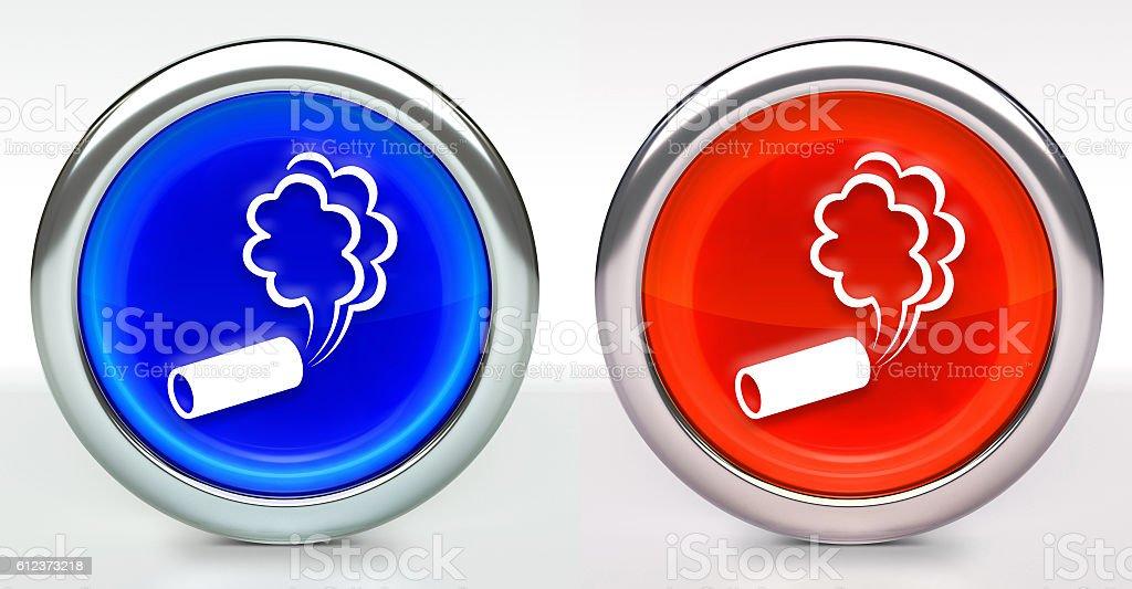Tear Gas Icon on Button with Metallic Rim stock photo