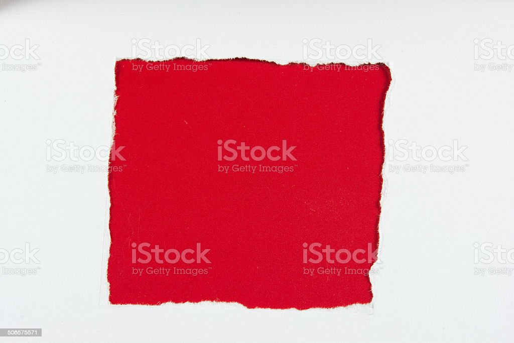 tear red paper pieces of paper on white royalty-free stock photo