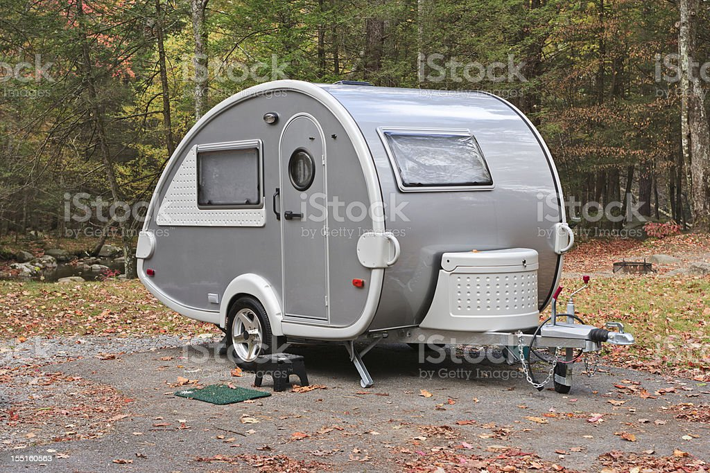 Teardrop camper trailer in the Smoky Mountains stock photo
