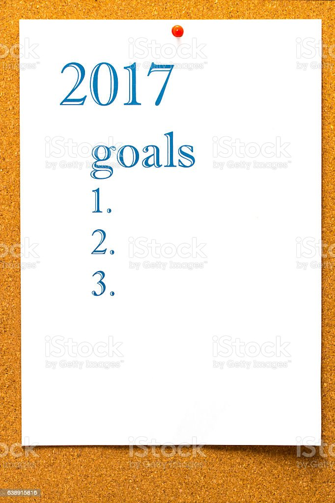 2017 GOALS  - teared note paper  pinned stock photo