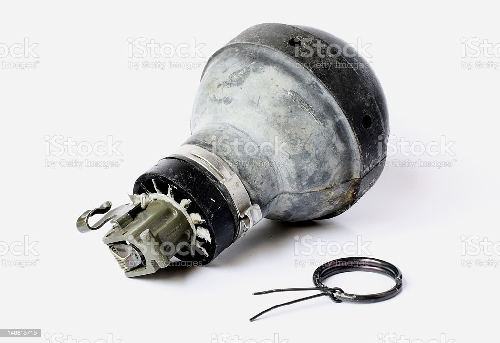 tear-gas hand grenade stock photo