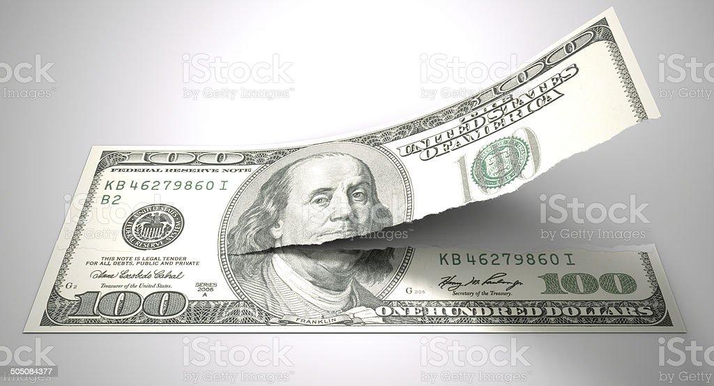 Tearing American Dollar stock photo