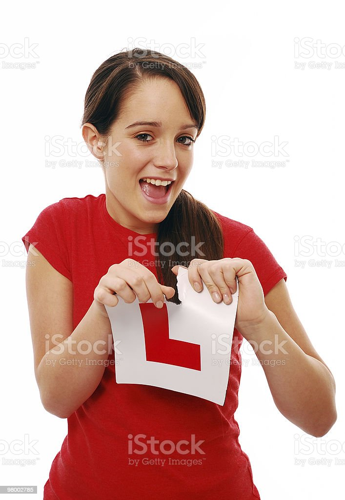 Tearing L plate stock photo