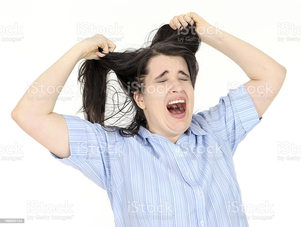 Tearing My Hair Out royalty-free stock photo