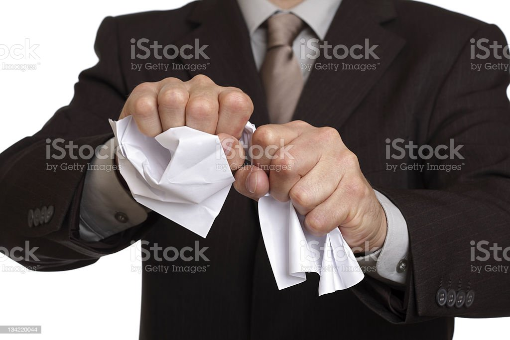 Tearing up the contract royalty-free stock photo