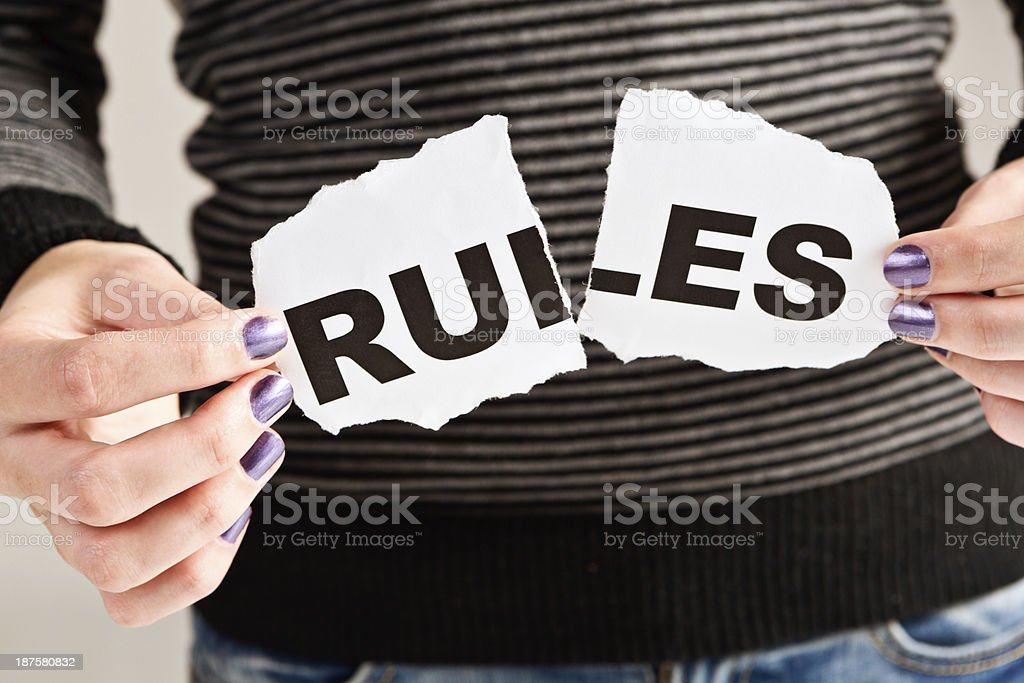 Tearing up the rules! royalty-free stock photo