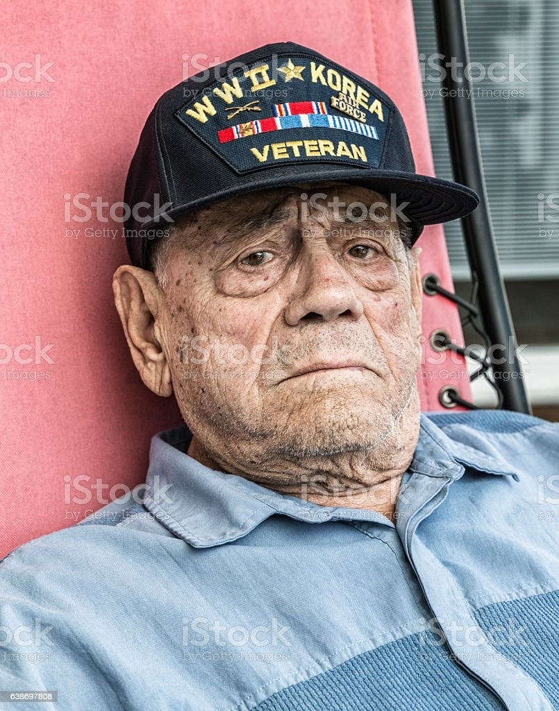 Tears in Eyes Elderly WWII Korea Veteran With The Blues stock photo
