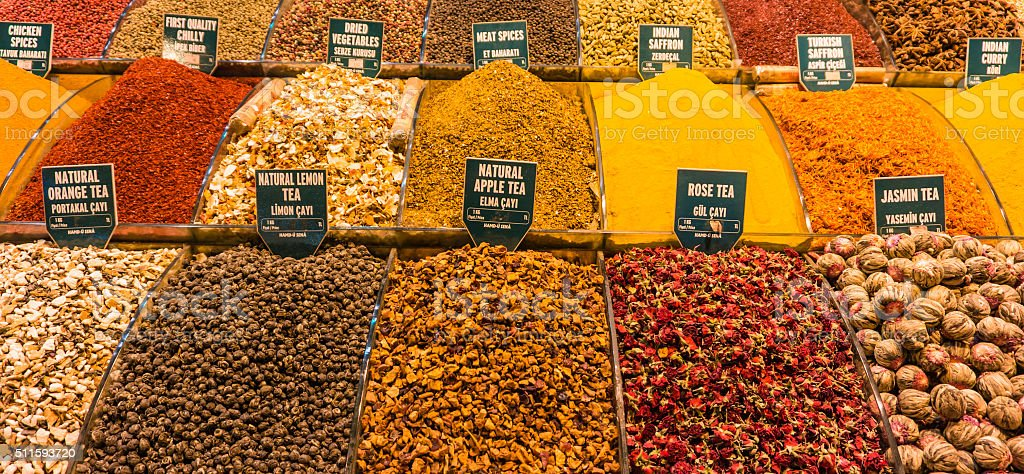 teas and spices for sale stock photo