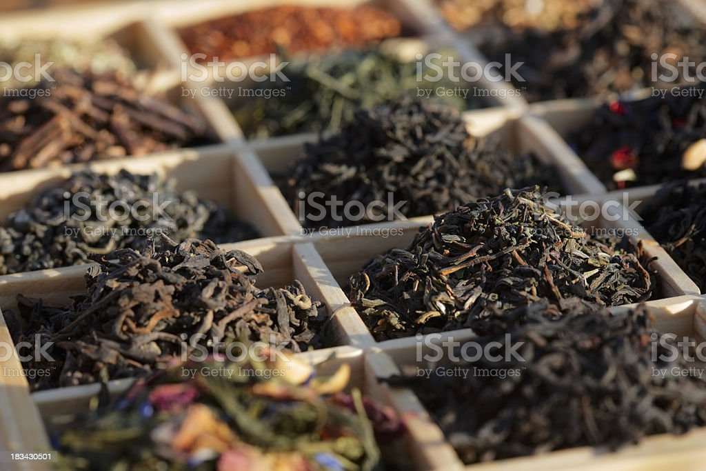 Teas in a box royalty-free stock photo