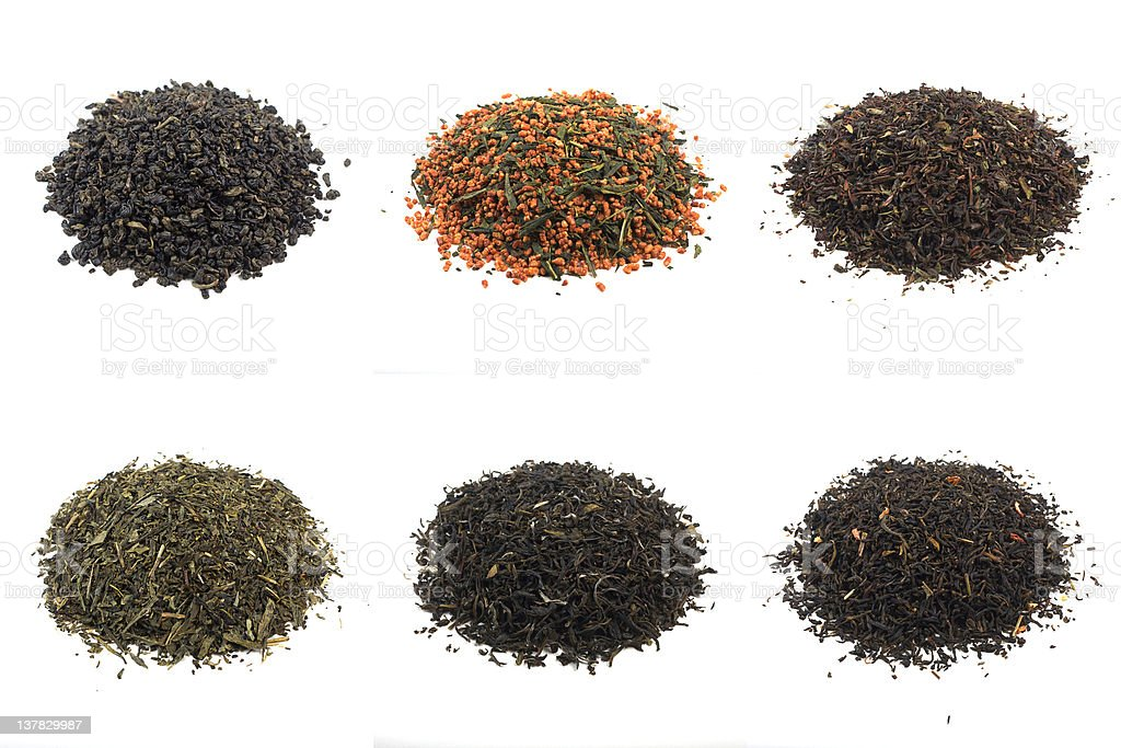 teas, shot im studio: gunpowder, genmaicha, darjeeling, sencha, white, jasmine royalty-free stock photo