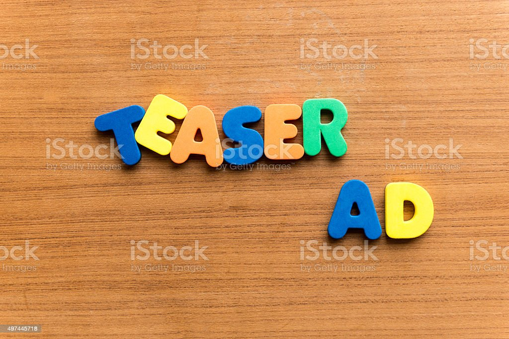 teaser ad stock photo