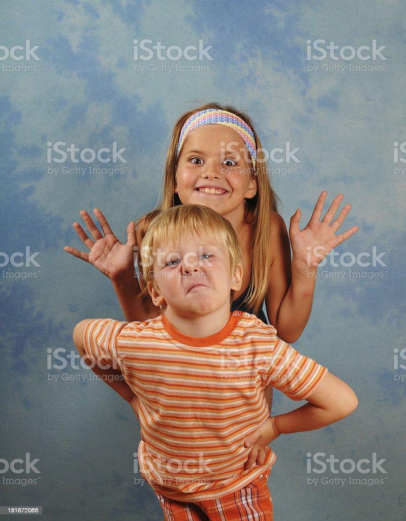 Teasing children portrait royalty-free stock photo